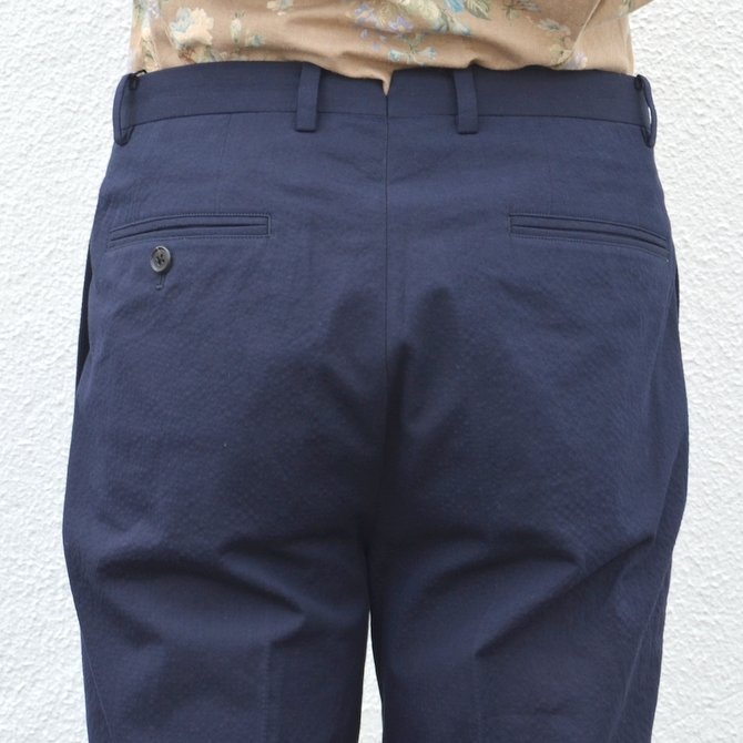 KENNETH FIELD (ケネスフィールド)  TRIM TROUSER ITALIAN SUCKER -NAVY- #17SS-40(9)