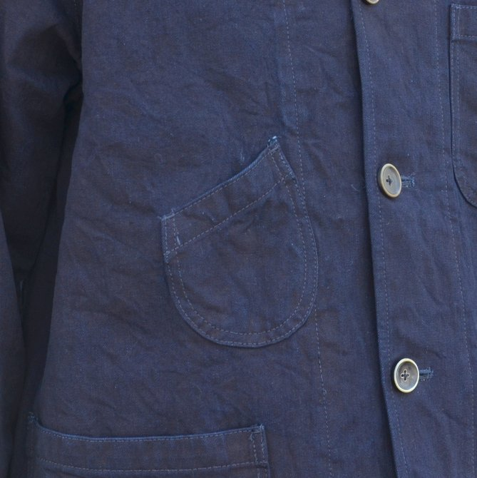 chimala(チマラ)/10OZ INDIGO X BLACK WEFT DENIM RAILROAD JACKET(UNISEX) -INDIGO- CS23-JT19(9)