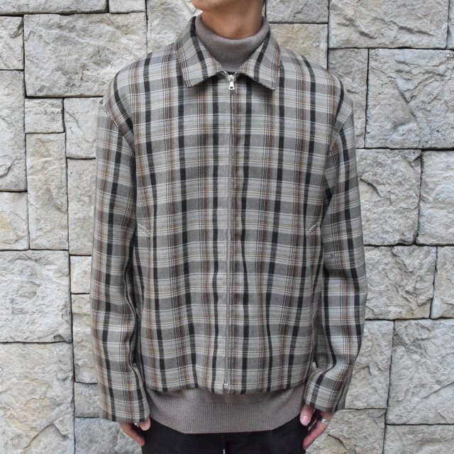 【30% off sale】【19 AW】 AURALEE(オーラリー)/DOUBLE FACE CHECK ZIP BLOUSON -BROWN CHECK-#A9AB02BN-BR(9)