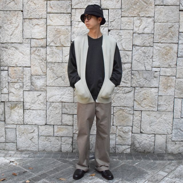 【30% OFF SALE】【2019AW】 AURALEE(オーラリー)/SUPER FINE WOOL RIB KNIT ZIP VEST #A9AV03RK-GRN(9)