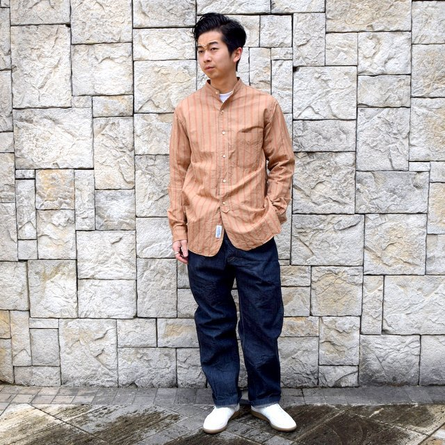 【2020】 A VONTADE(ア ボンタージ)/ BANDED COLLAR SHIRTS -BROWN STRIPE- #VTD-0312-SH(9)