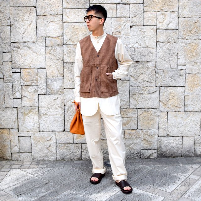【30% off sale】【2020】FRANK LEDER(フランクリーダー)/ ROOT DYED STRIPED LINEN VEST -BROWN- #0917073-89(9)