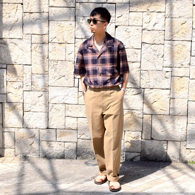 【2020】blurhms(ブラームス) / OPEN COLLAR SHIRT S/S -DARK MADRAS- #BHS-20SS018CP(9)