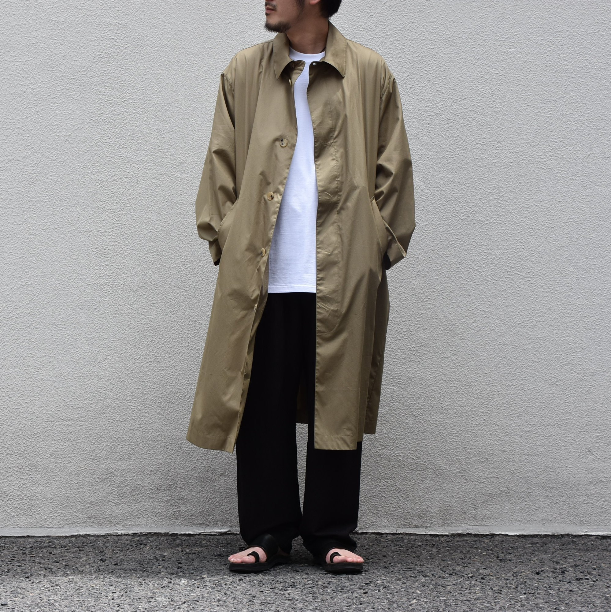 【2020】 Cristaseya(クリスタセヤ)/ OVERSIZED LIGHT COTTON SUMMER TRENCH -Light khaki- #01DA-C-LK(9)