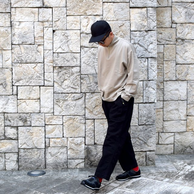 【2020】 AURALEE(オーラリー)/ ELASTIC HIGH GAUGE SWEAT HALF ZIP P/O -KHAKI GRAY- #A20AP01NU(9)