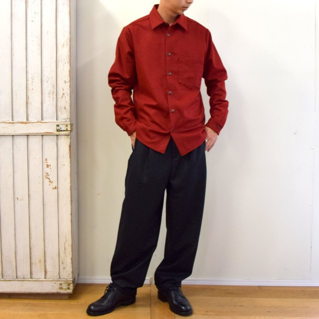 FRANK LEDER(フランクリーダー)/ LIGHT WEIGHT LODEN WOOL PLAIN SHIRT -RED- #0726027(9)