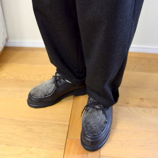 【2020】FRANK LEDER(フランクリーダー)/ LIGHT WEIGHT LODEN WOOL 2TUCK TROUSERS -BLACK- #0723028(9)