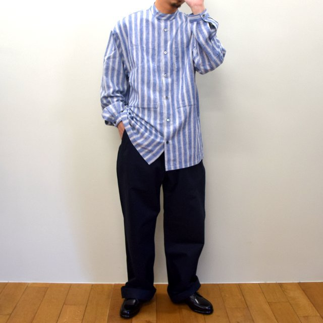 E. TAUTZ(イートウツ)/ COLLARLESS LINEMAN SHIRT -BLUE STRIPE- #(9)