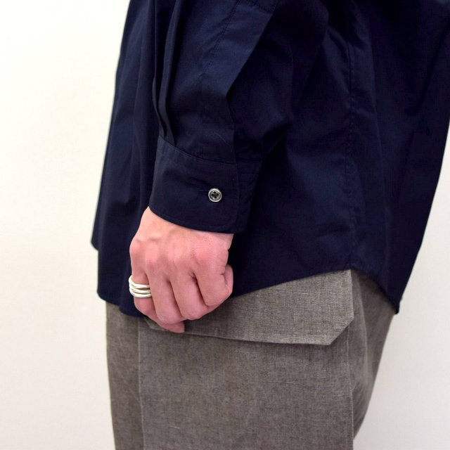 Graphpaper (グラフペーパー)/ BROAD OVERSIZED L/S BAND COLLAR SHIRT -NAVY- #GM211-50111B-GR(9)