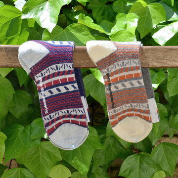 White Mountaineering(ホワイトマウンテニアリング) Cotton Jacquard Abstract Pattern Middle Socks