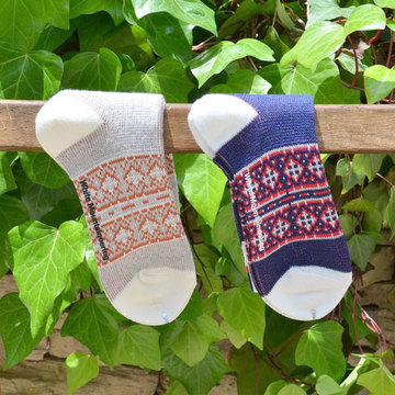 White Mountaineering(ホワイトマウンテニアリング) Cotton Jacqurd Cross Border Pattern Middle Socks