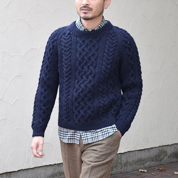 INVERALLAN(インバーアラン) 1A CREWNECK ALAN SWEATER(日本正規品)in Heavy wt. -NAVY-(SIZE40。、42)