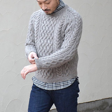 INVERALLAN(インバーアラン) 1A CREWNECK ALAN SWEATER(日本正規品) -BRACKEN(N603)in Naturally-Neutral- (SIZE40。、42)