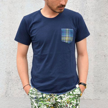 SALE 30%OFF White Mountaineering(ホワイトマウンテニアリング) JERSEY x CHECK PRINT HEM PIPED POCKET T-SHIRT -NAVY-
