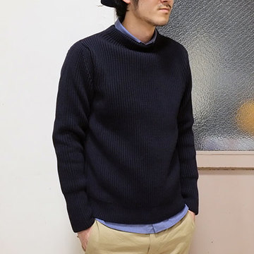 ANDERSEN-ANDERSEN(アンデルセン アンデルセン) SAILOR SWEATER CREW NECK(5Gauge) -NAVY-