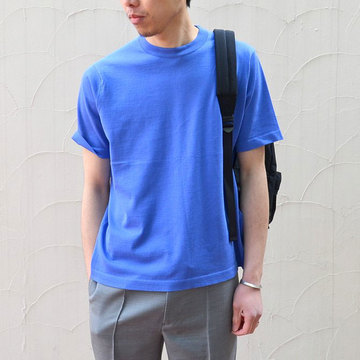 【40% off sale】niuhans(ニュアンス) Cotton Crew neck S/S Sweater -BLUE-