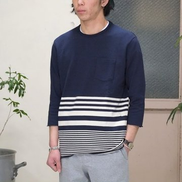 FLISTFIA(フリストフィア) 3/4 Sleeve Border T-Shirts -NAVY x Off White -