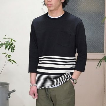 FLISTFIA(フリストフィア) 3/4 Sleeve Border T-Shirts -BLACK x Off White -