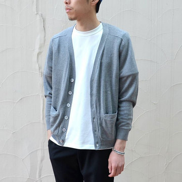 【40% off sale】niuhans(ニュアンス) SILK CASHMERE V NECK CARDIGAN -GREY-