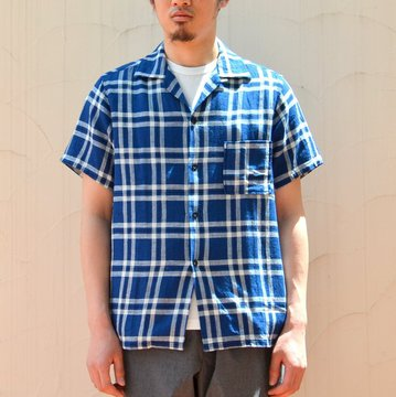 【40% off sale】WHITE LINE(ホワイトライン) WL Indigo Check Open Collar S/S Shirt-blue black-