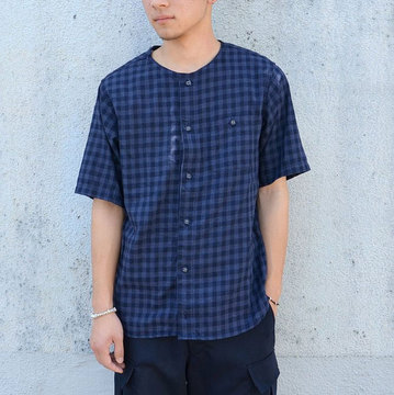【40% off sale】White Mountaineering(ホワイトマウンテニアリング) NO COLLAR VIYELLA HALF SLEEVE SHIRT-NAVY-