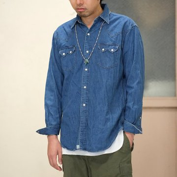 【2016 AW】orSlow(オアスロウ) VINTAGE FIT WESTERN SHIRTS -(95) Denim - #03-8024-95