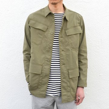 【30% off sale】  White Mountaineering(ホワイトマウンテニアリング) STRETCH OVERSIZED MILITARY SHIRT JACKET -KHAKI- #WM1771104