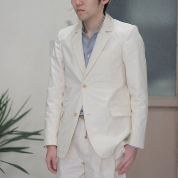 【40% OFF SALE】【2017 SS】FRANK LEDER(フランク リーダー) VINTAGE BED LINEN COTTON 2B Jacket -(80)NATURAL WHITE-  #0912024