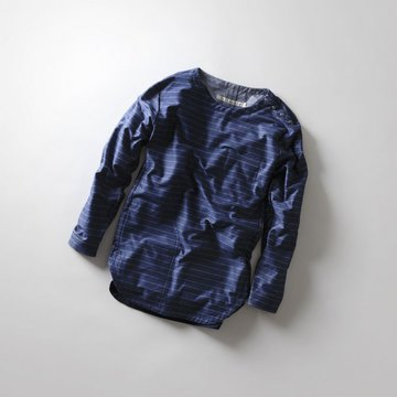 【30% OFF SALE】【17 SS】Curly(カーリー) HIGH GAUGE PIN BORDER TWILL JERSEY -NAVY PIN BORDER- #171-31032BD