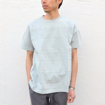 【40% off sale】ts(s) (ティーエスエス) Cloth & Jersey Comb.Border Striped T-shirt -(25)IceGray- #ET36XC08