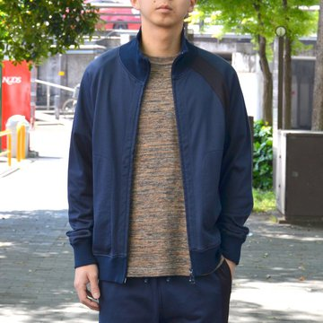 【40% OFF SALE】 ts(s) (ティーエスエス) Smooth Cotton Terry Jersey Asymmetry Line Track Jacket -(28)Dark Navy- #ET38XC09