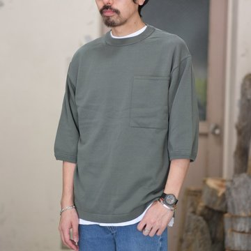 【2018 SS】crepuscule(クレプスキュール) POCKET KNIT TEE 3/4   -Green- #1801-006