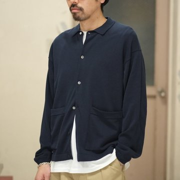 【2018 SS】crepuscule(クレプスキュール) Knit Shirt  -NAVY- #1801-005