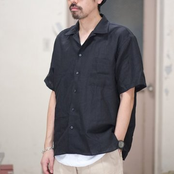 INDIVIDUALIZED SHIRTS(インディビジュアライズドシャツ)/ Linen Camp Collar Shirt S/S (AthleticFit) -BLACK- #IS1812115