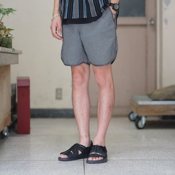 KENNETH FIELD (ケネスフィールド)  TRACK & FIELDSHORTS -HORIZONTAL STRIPED NAVY/WHITE- #18SS-36