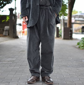 【40% OFF SALE】 CASEY CASEY(ケーシーケーシー)/ VELVET PANTALON JOG BASICS LONG PANT -DARK GREY- #11HP124