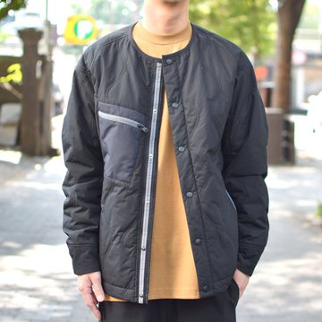 【30% OFF SALE】 White Mountaineering(ホワイトマウンテニアリング) PRIMALOFT QUILTED NO COLLAR JACKET -BLACK- #WM1873213