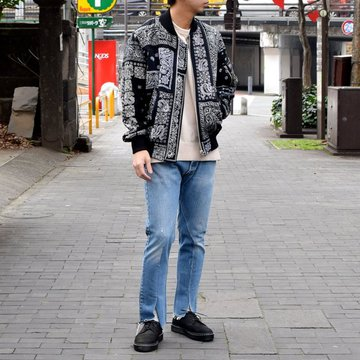 OLD PARK /SLIT JEANS -BLUE- #OP-225