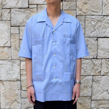 AURALEE(オーラリー)/ FINX SILK STRIPE CUBA SHIRTS-BLUE STRIPE-#A9SS02FS