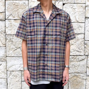 INDIVIDUALIZED SHIRTS(インディビジュアライズドシャツ)/ Linen Camp Collar Shirt S/S (AthleticFit) -OLIVE CHECK-#IS1911198