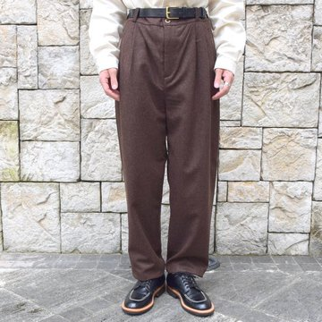 【30% OFF】FRANK LEDER(フランクリーダー) /LODEN WOOL 2 TUCK TROUSERS -BROWN- #0723028