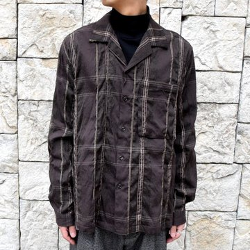 YOKE(ヨーク)/BIG PLAID OPEN COLLAR SHIRTS-BROWN- #YK19AW0062SH