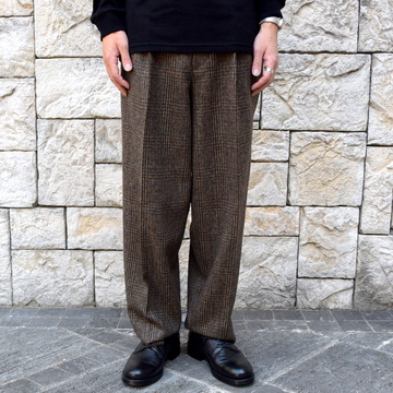 【2019 AW】SCYE BASICS(サイベーシック)/FOX BROTHERS Tweed Wide Tapered Trousers -シナモン- #1119-83032