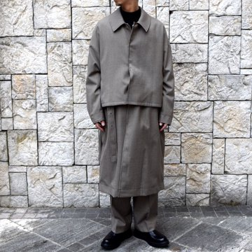 YOKE(ヨーク)/FIVE COLORS PLAID WOOL 3WAY BAL COLLAR SHARE COAT -BEIGE PLAID- #YK19AW0046C