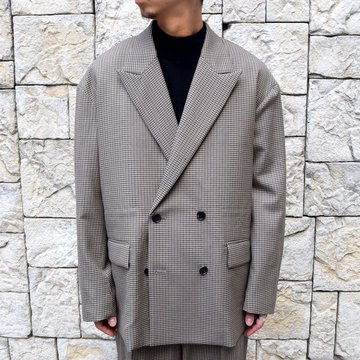YOKE(ヨーク)/FIVE COLORS PLAID WOOL LOOSE DOUBLE BREASTED JACKET -BEIGE PLAID- #YK19AW0047J