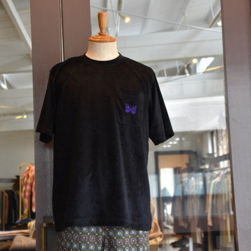 NEEDLES(ニードルス) S/S Papillon Emb. Pocket Tee – R/Pe Velour – Black#GL253