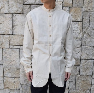 【2020】FRANK LEDER(フランクリーダー) / VINTAGE BEDSHEET SHIRT STAND COLLAR -NATURAL- #0916032-80