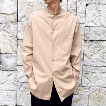 【30% off sale】【2020】blurhms(ブラームス) / Stand-up Collar Shirt L/S:LIGHT BEIGE  BHS-20SS019