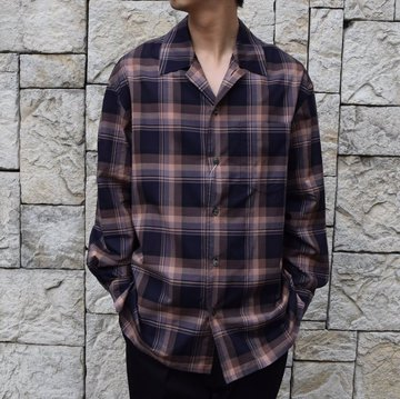 【2020 SS】blurhms(ブラームス) / Open Collar Shirt L/S -DARK MADRAS- #BHS-20SS017CP