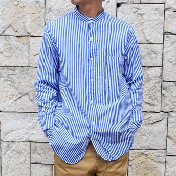 【2020 SS】 A VONTADE(ア ボンタージ)/ BANDED COLLAR SHIRTS -BLUE STRIPE- #VTD-0312-SH